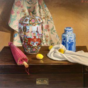 "Still Life With Chinese Vases, Boris Kaplun, 37""x52"", Acrylic on Canvas, framed, $500"