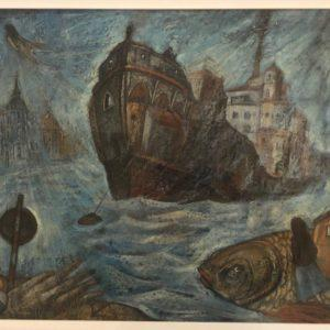 "The Ship-Mirage, Yan Antonishev, 22""x27"", Cardboard / Pastel, unframed, $450"