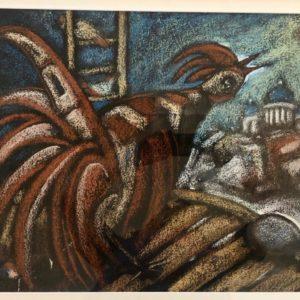 """The Rooster, Yan Antonishev, 20""""x23"""", Cardboard / Pastel, unframed, $400"""