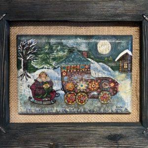 """Russian Valenok, Elena Patton, 9""""x11"""",  framed, $95"""