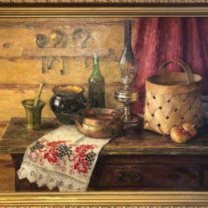 """Russian Corner, Dmitry Chernyaev, 27""""x35"""" Oil on Canvas, 1991, framed, $550"""