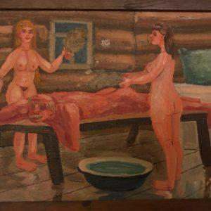 "In the Bath-House, E.G.Galkin, 11""x15"", Oil on Cardboard, 1999, framed, $110"