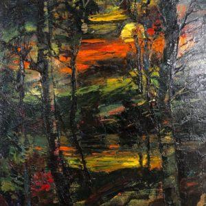 "Sunset, K. Karlov, 12""x18"" Oil on Canvas, unframed, $300"