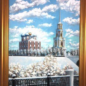 """Ryazan Kremlin, Galina Vorobyova, 17""""x23"""", Acrylic on Canvas, framed, $300"""