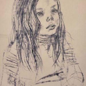 "Girl, Oleg Zakomorny, 15""x23"", 2006, Printed copy 3/50, Signed by Author, $135"