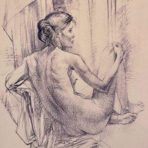 """Women #1, Oleg Zakomorny, 17""""x23"""", 2006, Printed copy 4/50, Signed by Author, $135"""
