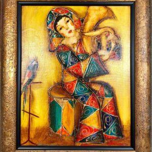 "Musician №2, Gagic Petrosian, 21""x24"", Acrylic on Canvas, 1999, $250"