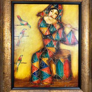 "Musician №3, Gagic Petrosian, 21""x24"", Acrylic on Canvas, 1999, $250"