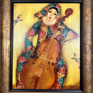 "Musician №1, Gagic Petrosian, 21""x24"", Acrylic on Canvas, 1999, $250"