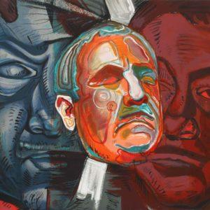 """Triple Self-Portrait, Ernst Neizvestny; Copy №93 from 99, 1979; Lithograph; Signed in pencil, 30""""x40""""; Framed; Size with frame 39"""" х 49""""; $1800"""