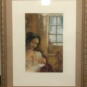 """Natasha with her Son , Igor Karash, Original paintings, Gouache on Fabriano paper 37""""x29,""""Framed, Price are available per special request;"""