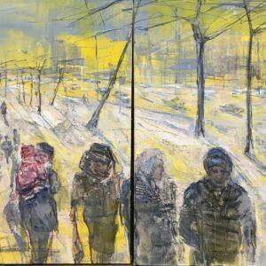 "Russians Diptich, Olga Porter, 36""x 72"", Oil on Linen, $6000"
