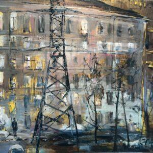 """Buildings Lit Up, Olga Porter, 20""""x 24"""", Oil on Linen, $2100"""